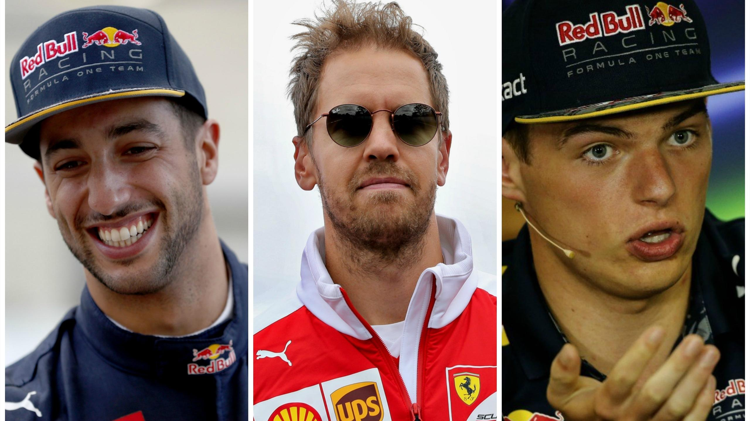 Daniel Ricciardo, Sebastian Vettel and Max Verstappen