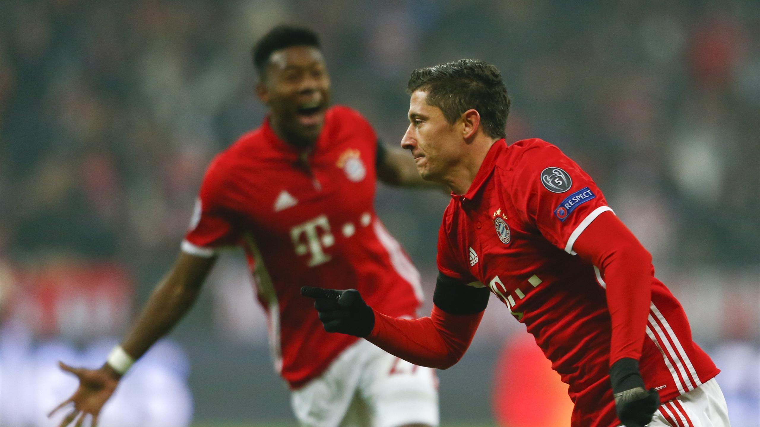 Bayern Munich's Robert Lewandowski reacts after scoring against Atletico Madrid