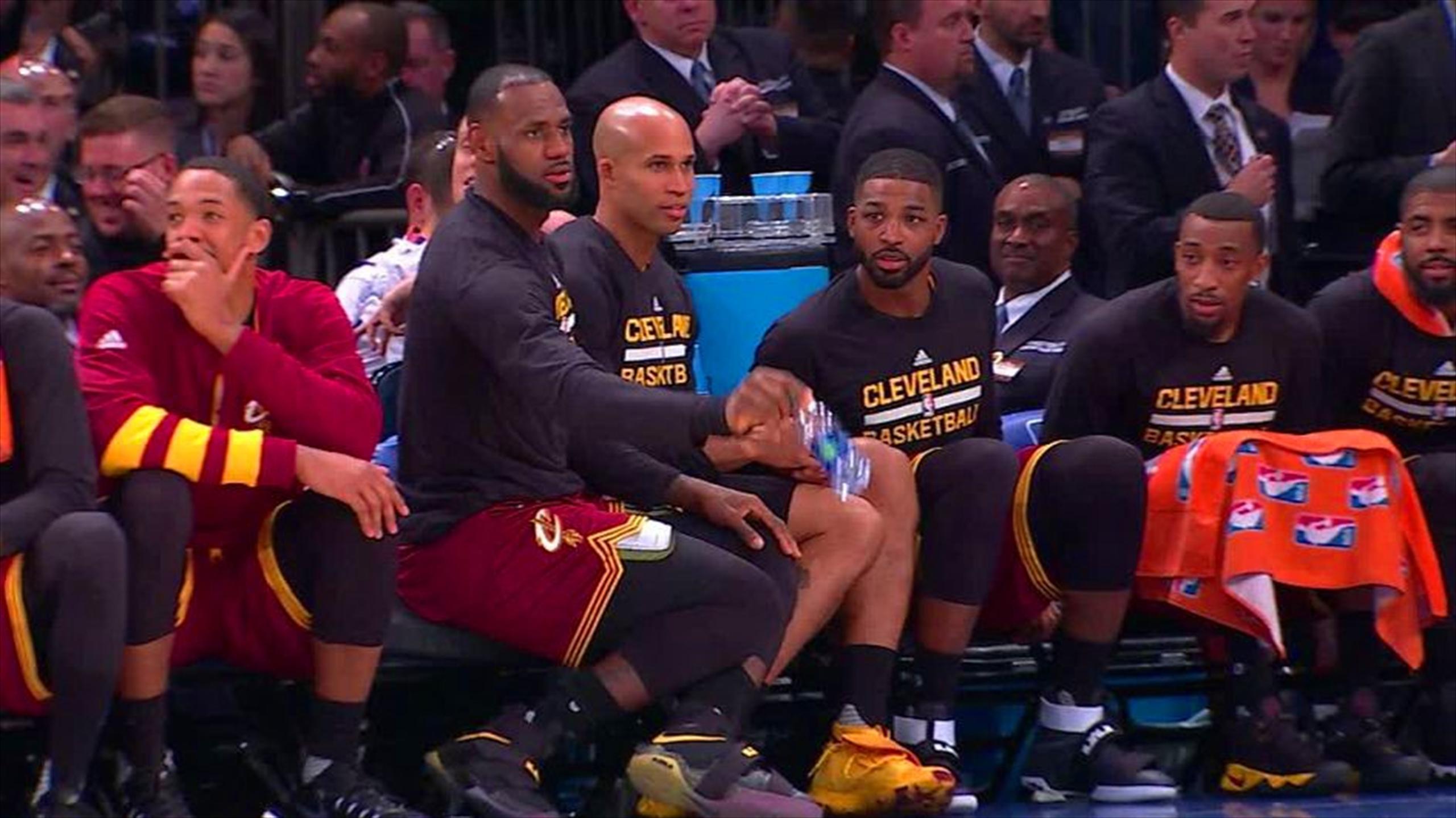 LeBron James' bottle-flip challenge goes badly DURING Cleveland Cavaliers game (Twitter)