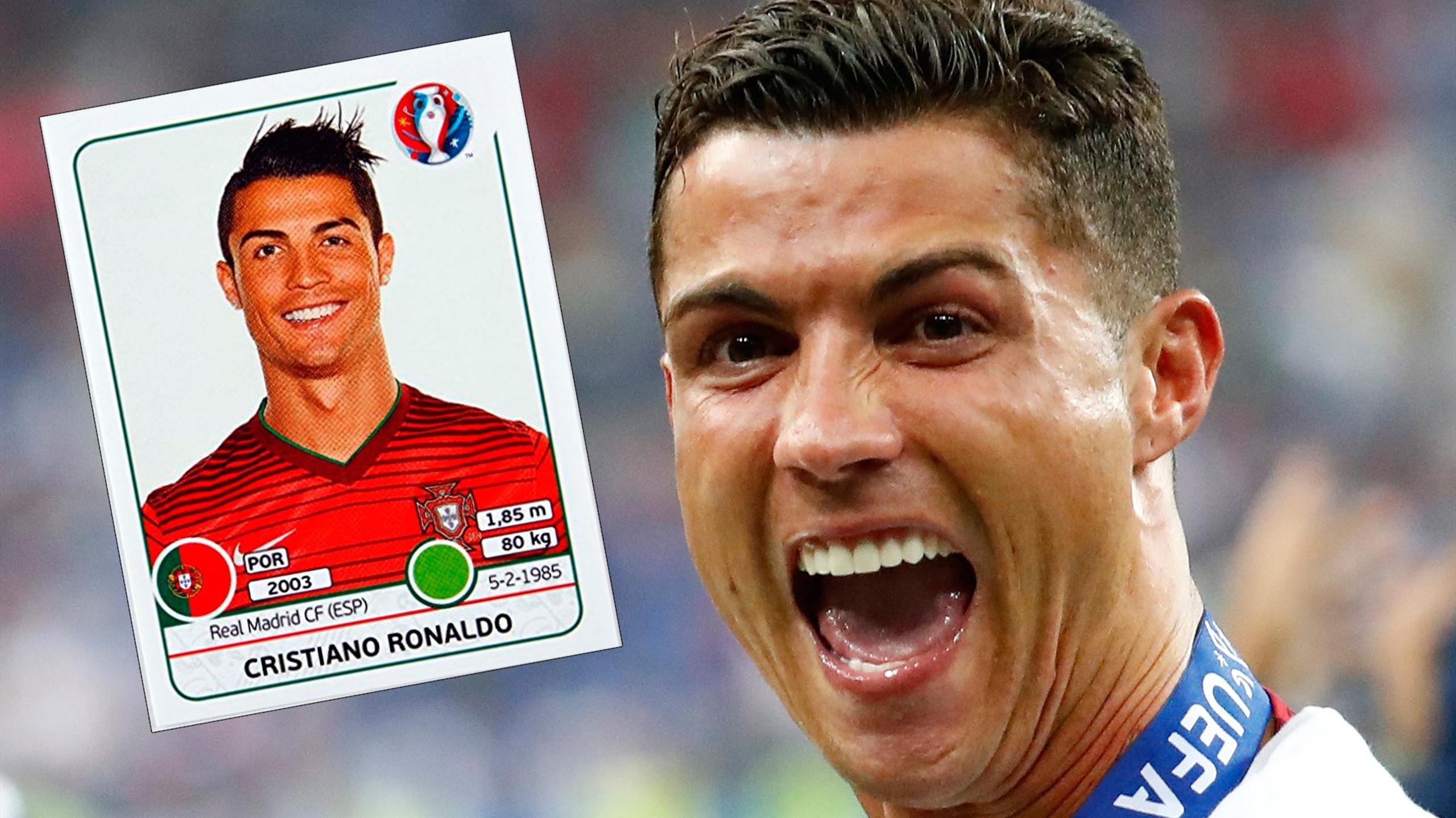 Cristiano Ronaldo and one of his Panini stickers