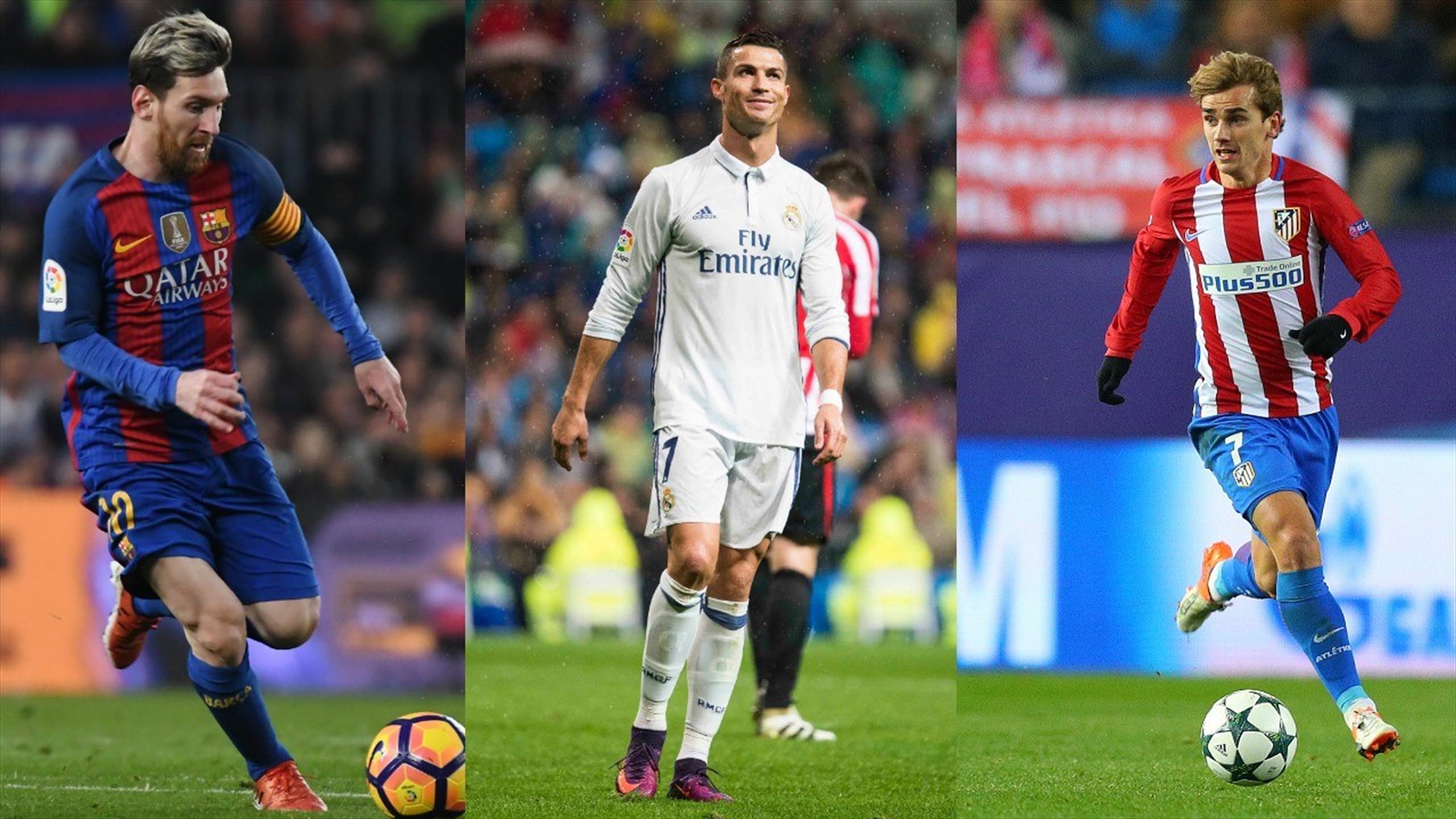 Lionel Messi, Cristiano Ronaldo et Antoine Griezmann