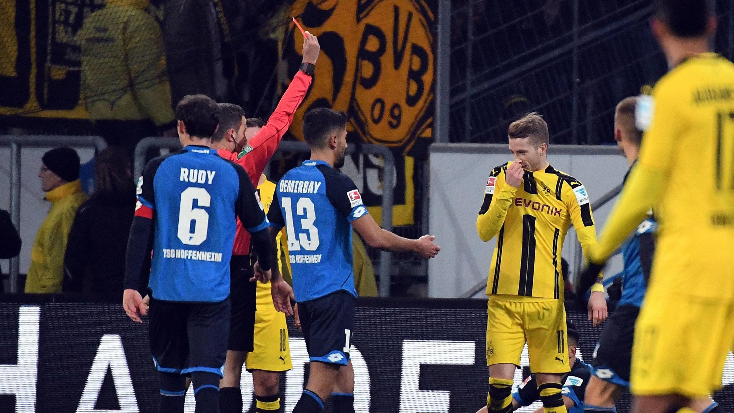 Марко Ройс удален в матче «Хоффенхайм» – «Боруссия»