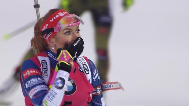 Highlights: Gabriela Koukalova wins mass start biathlon
