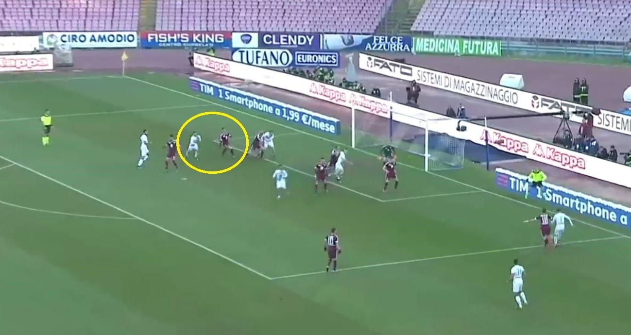 Il primo gol di Mertens contro il Torino