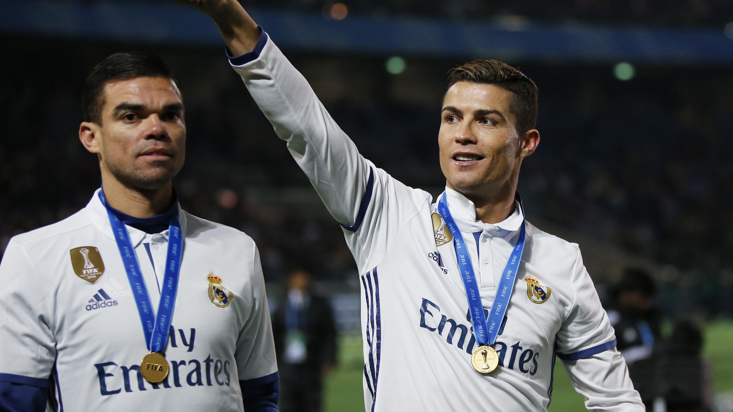Cristiano Ronaldo celebrates Club World Cup win with Real Madrid team-mate Pepe