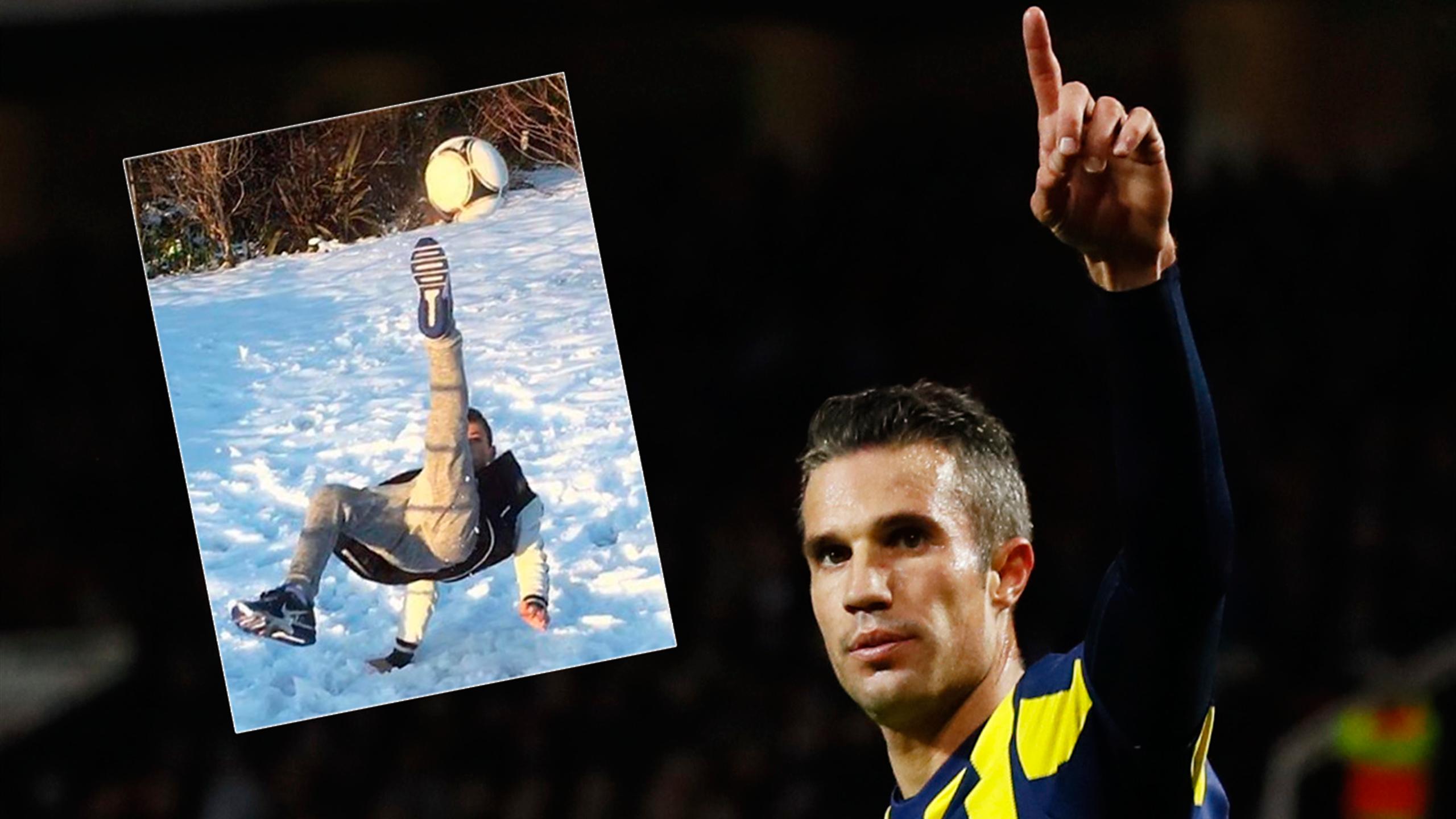 Robin van Persie's son Shaqueel scores superb overhead kick in the snow (Instagram)