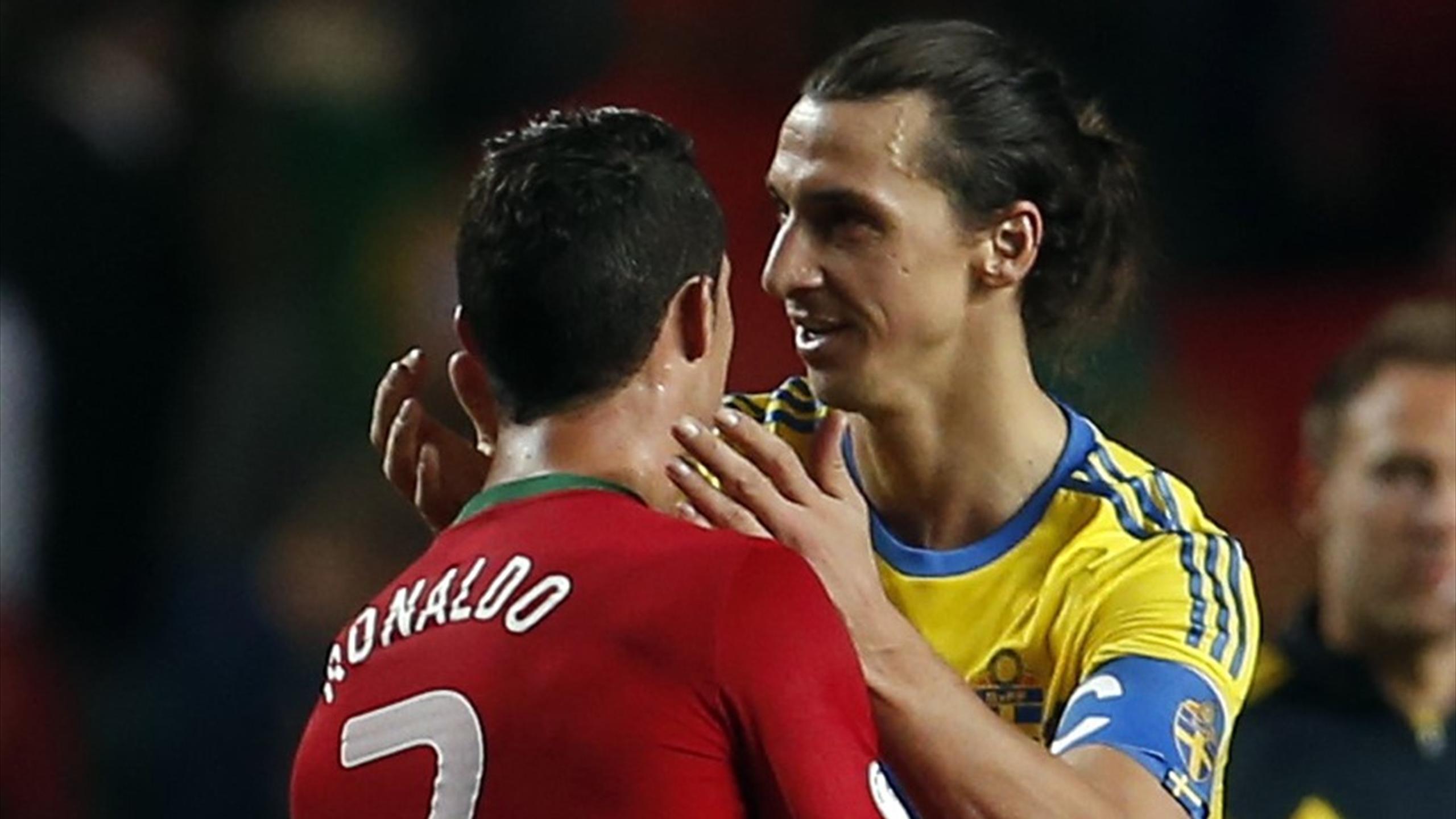 Zlatan Ibrahimovic greets Cristiano Ronaldo