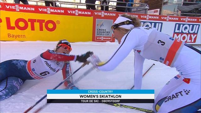 Sergey Ustiugov completes Tour de Ski hat-trick in skiathlon thriller