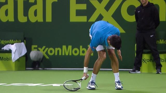 Djokovic smashes racket, takes point penalty and loses game
