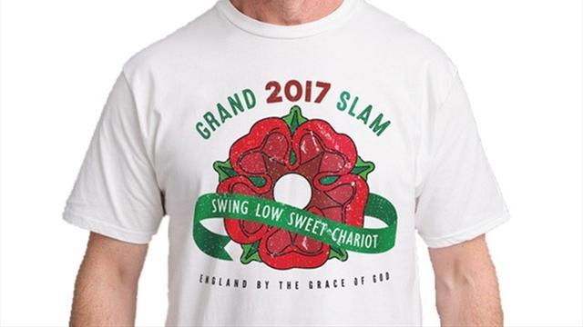 """Sur le net, on peut déjà se procurer un t-shirt """"Grand Chelem 2017"""" pour l'Angleterre..."""