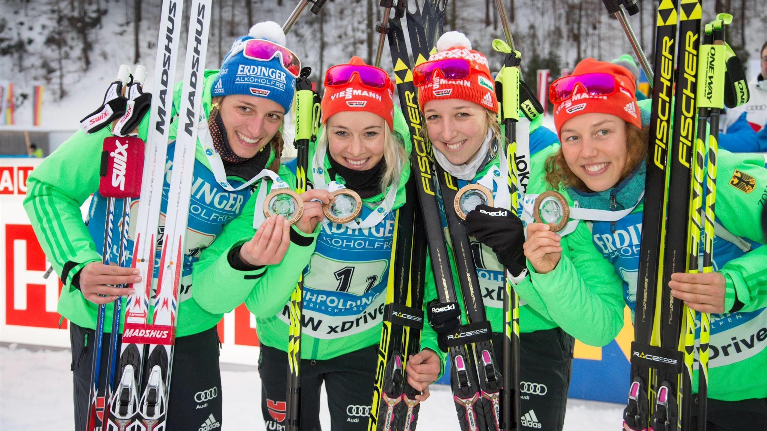 Vanessa Hinz, Maren Hammerschmidt, Franziska Preuß und Laura Dahlmeier