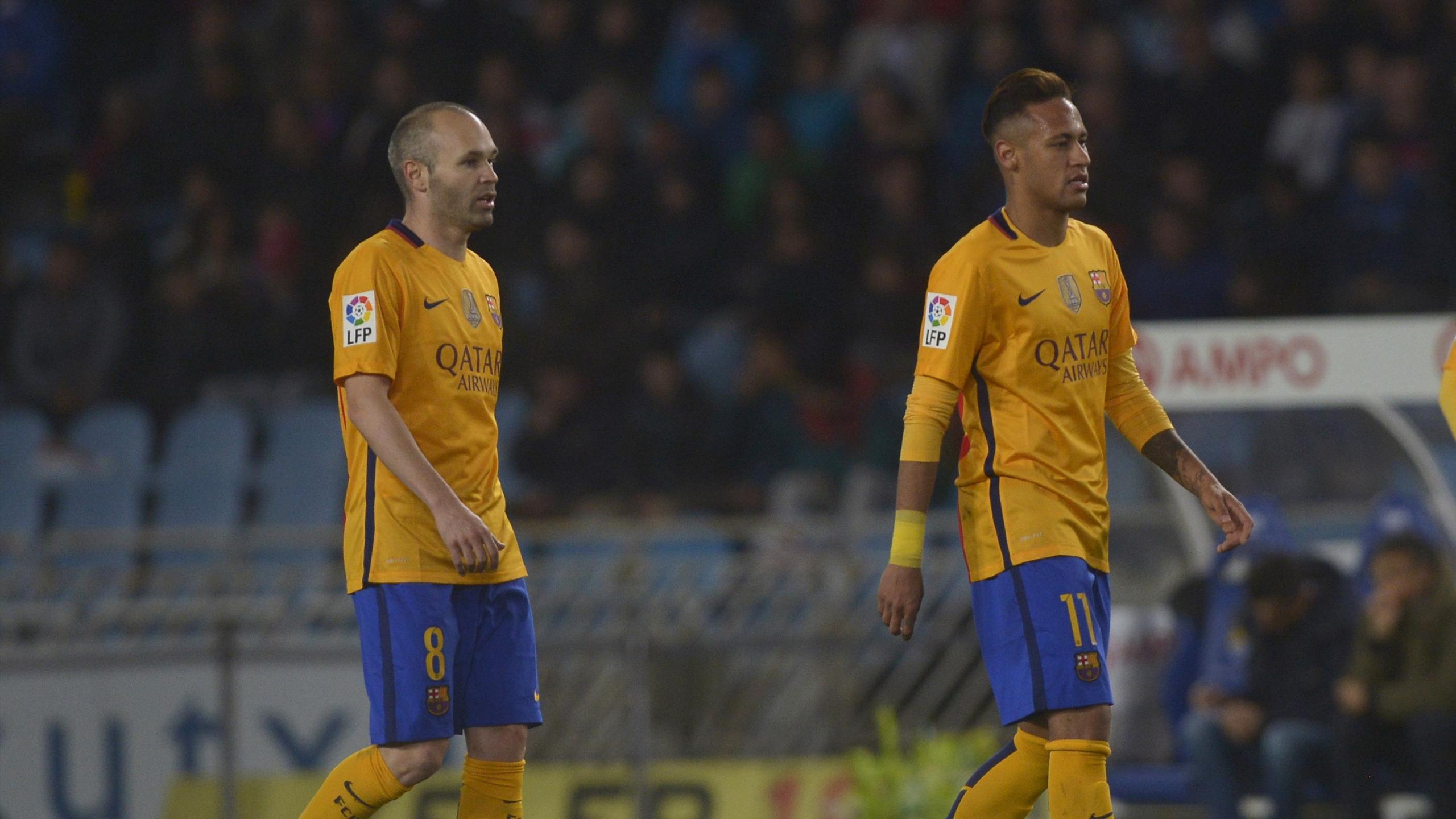 Barcelona stars Andres Iniesta and Neymar