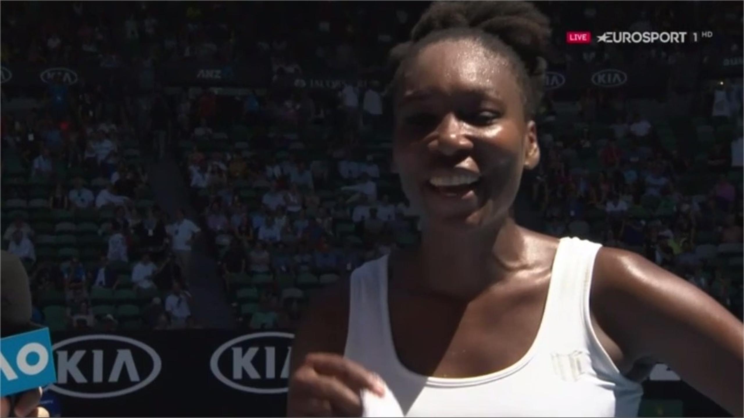 Venus Williams laughs in interview