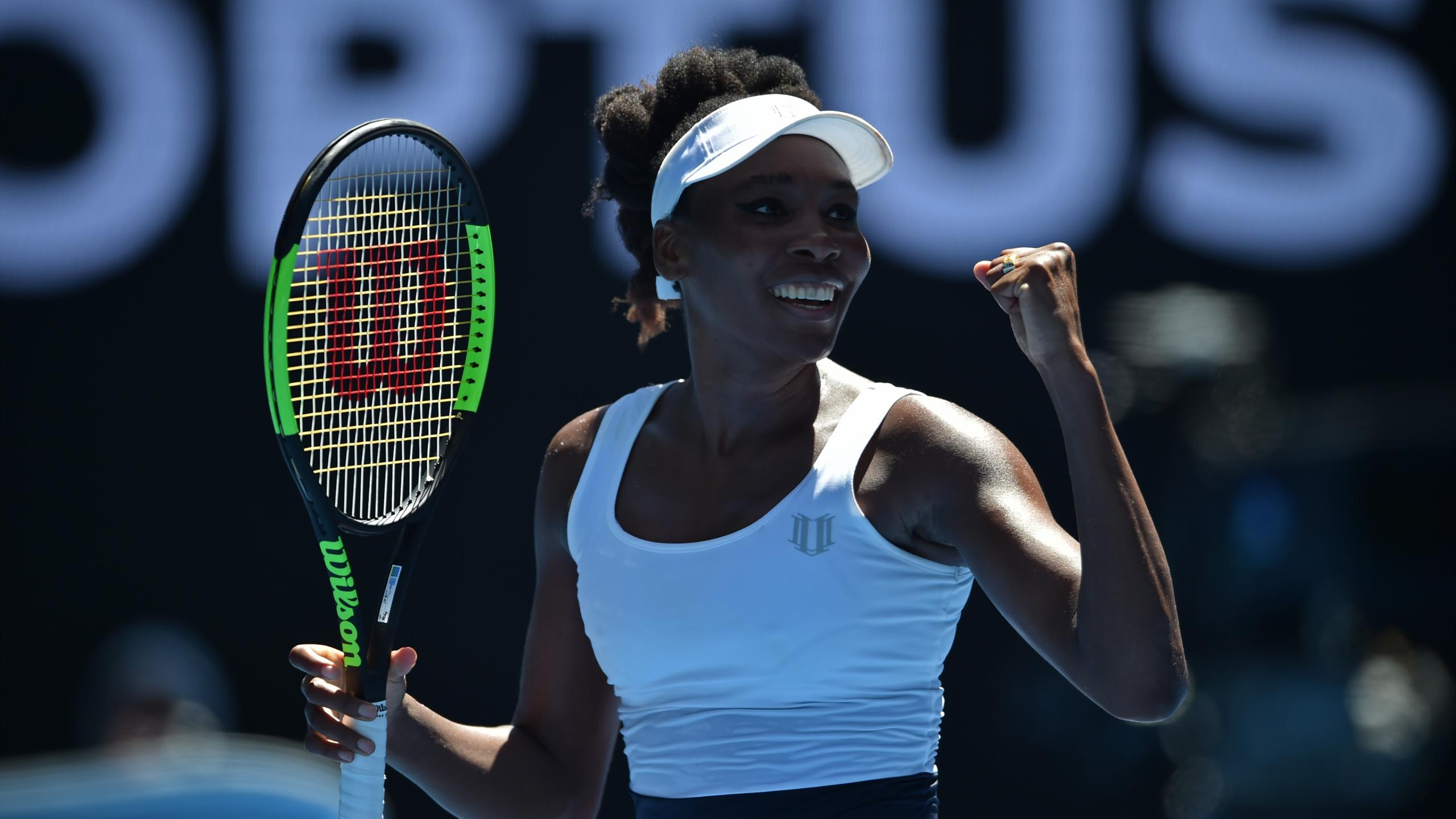 Venus Williams of the US celebrates her victory against Ukraine's Kateryna Kozlova