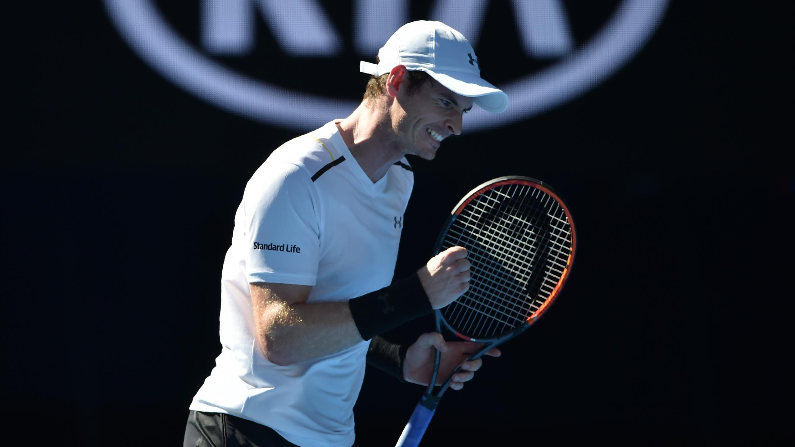 Andy Murray celebrates victory at the Australian Open