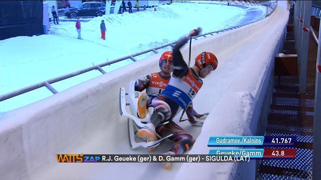Watts: German bobsleigh pair come a cropper in Sigulda