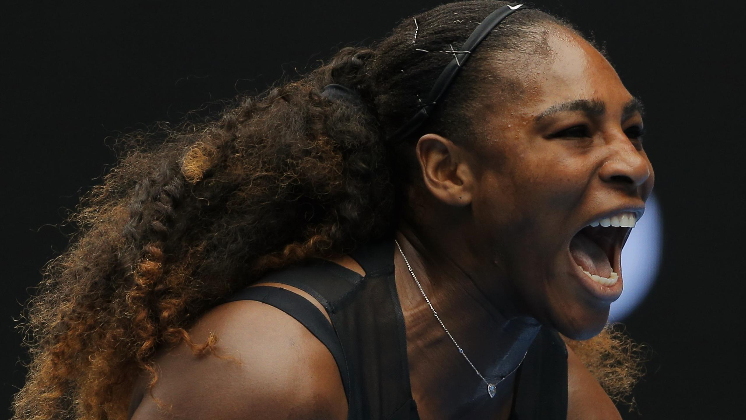 Serena Williams celebrates her first round win against Switzerland's Belinda Bencic