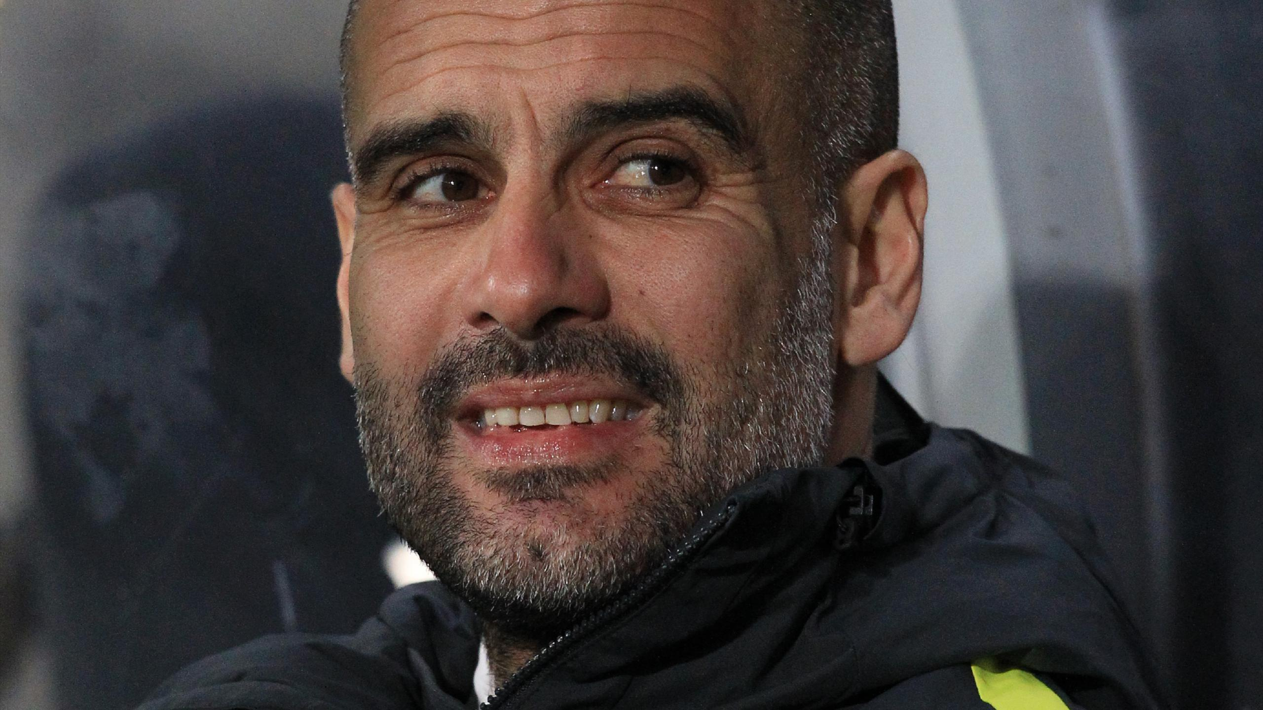 Manchester City's Spanish manager Pep Guardiola waits for kick off