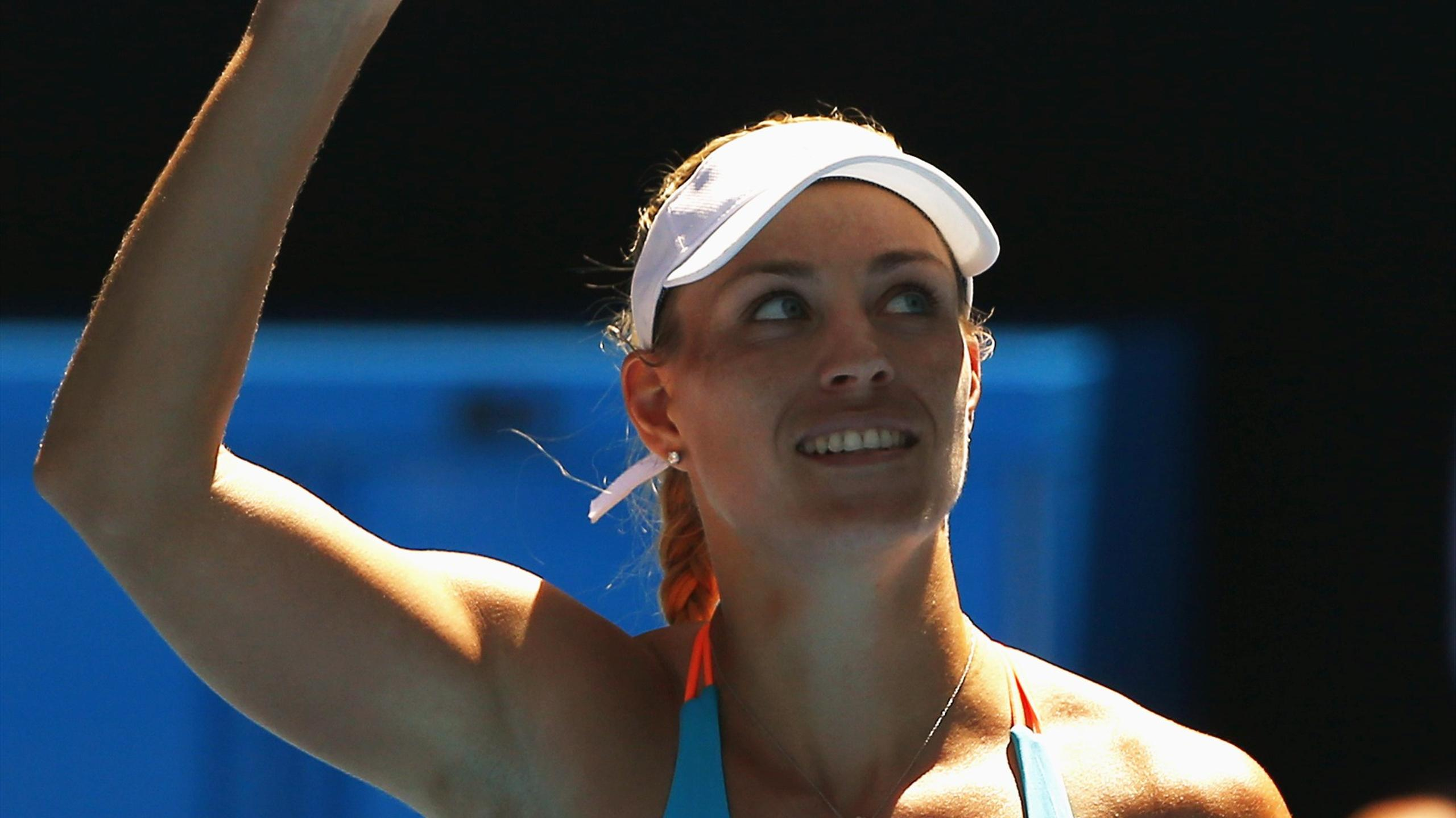 Germany's Angelique Kerber's celebrates after winning her Women's singles second round match against Germany's Carina Witthoeft