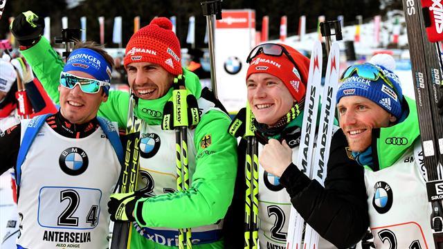 German men race to biathlon relay gold in Italy