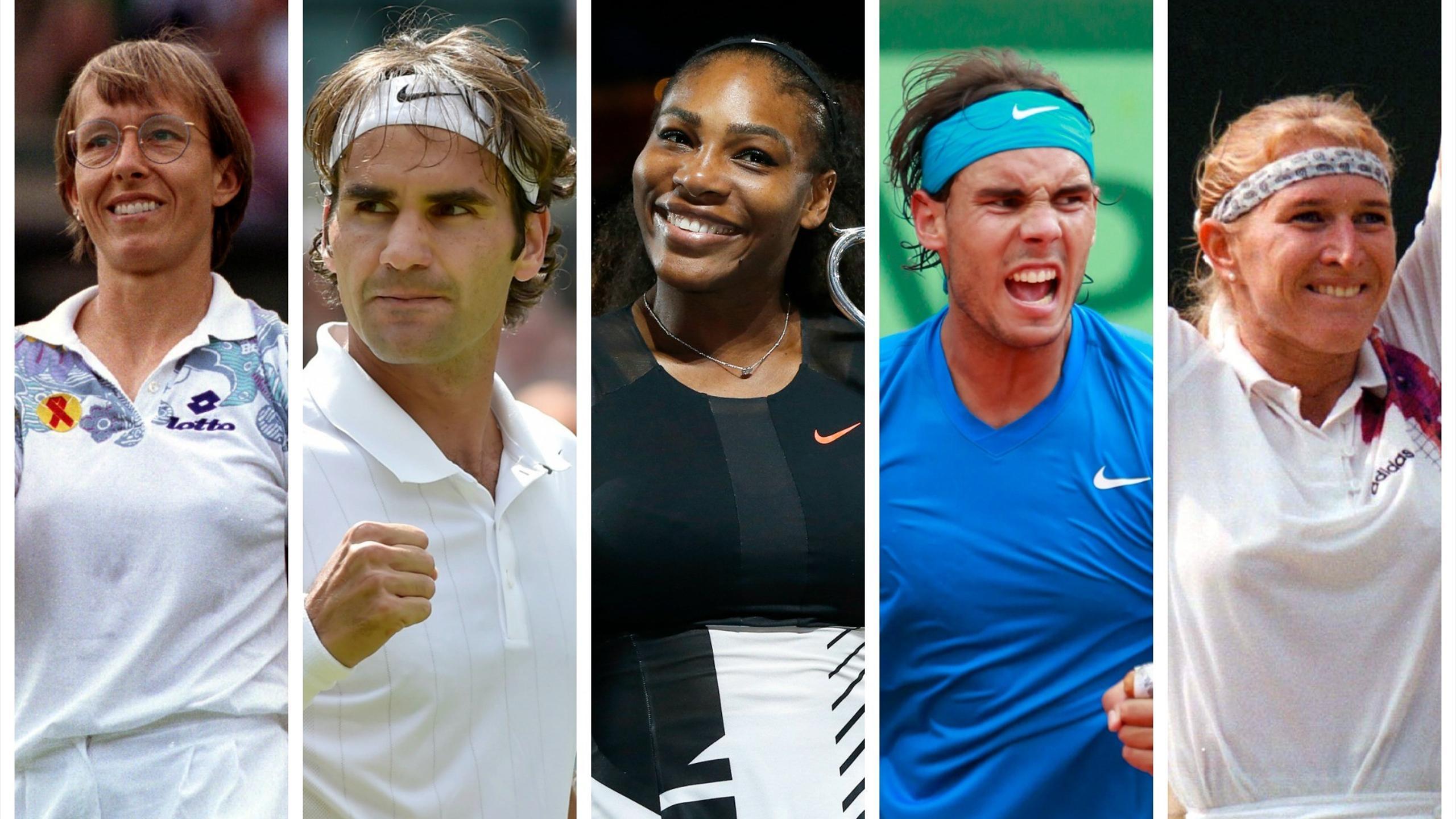 Martina Navratilova, Roger Federer, Serena Williams, Rafael Nadal and Steffi Graf