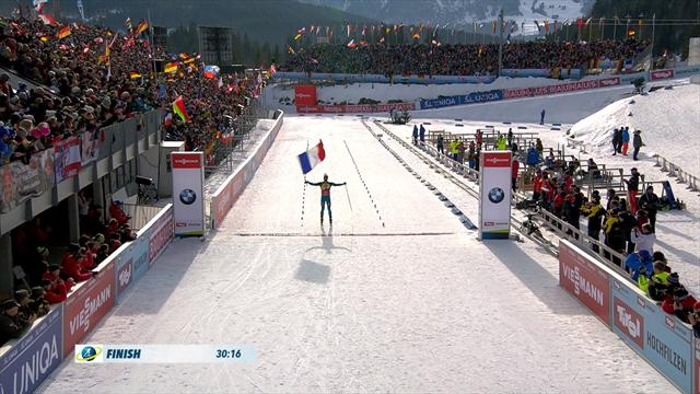 Highlights: Fourcade wins men's pursuit world title, flies French flag over finish line