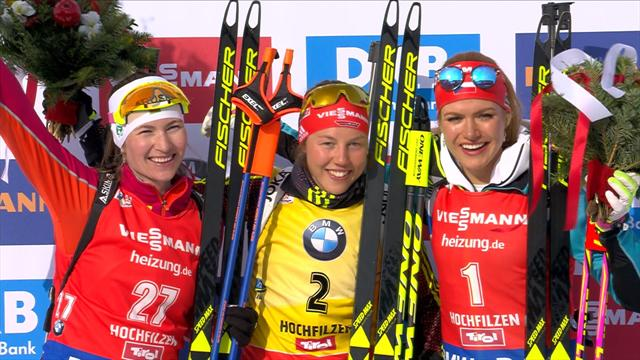 Dahlmeier wins pursuit, Domracheva roars from 27th to silver