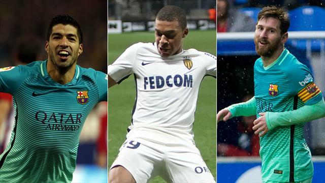 Entre Suarez et Messi, Mbappé a une place de choix dans l'équipe-type du week-end