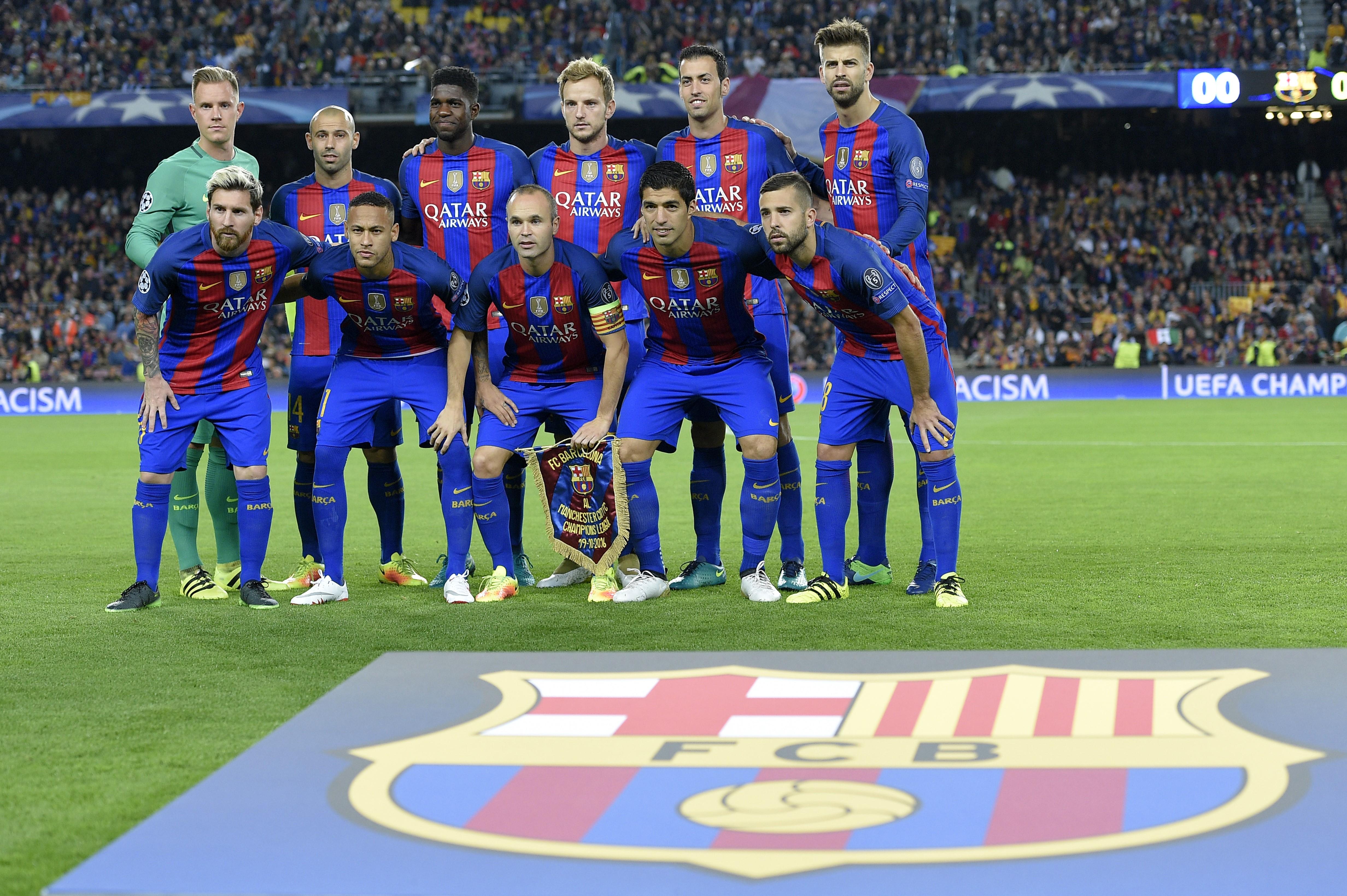 Le onze du FC Barcelone avant son match de Ligue des Champions contre Manchester City le 19 octobre 2016