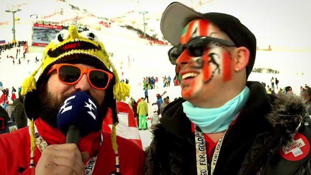 Pinturault, fromage suisse, perruque et fous rires : le meilleur des fans à St Moritz