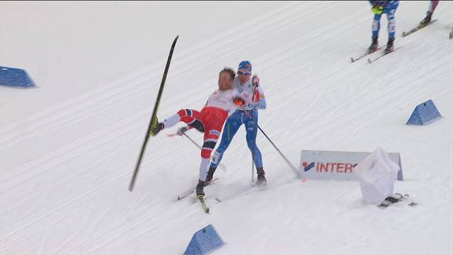 Norway miss out on certain gold after crash in sight of finish line in men's sprint