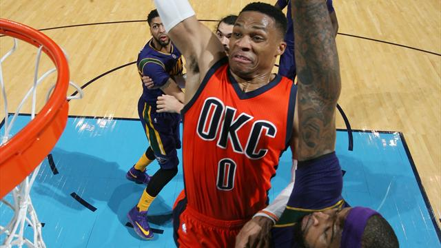 """Oklahoma City, galibiyeti Westbrook'un rekor """"triple-double""""ı ile aldı"""