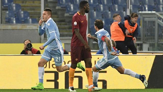 Milinkovic-Immobile: la Lazio surclassa la Roma, 2-0 nel match d'andata
