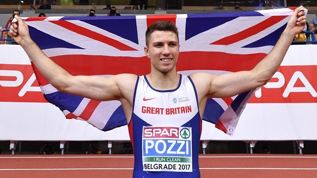 Britain's Pozzi wins gold in 60m hurdles