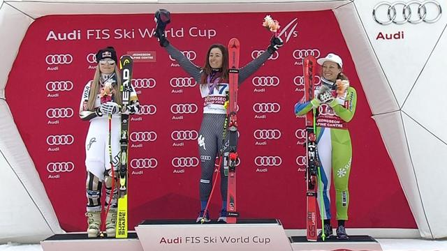 Sofia Goggia belts out Italian national anthem on the podium