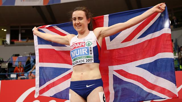 Muir breaks 3000m record to double up, Philip wins 60m gold for Britain