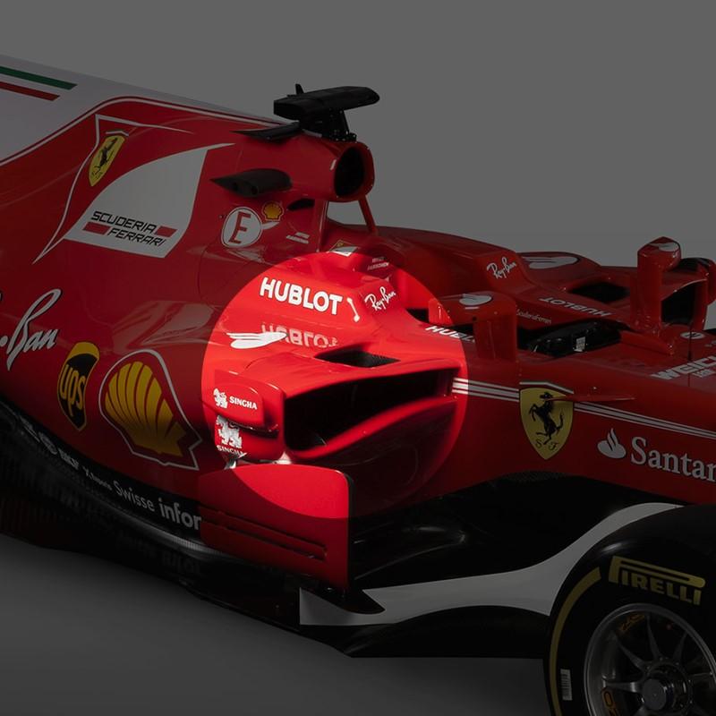 La struttura particolare del sidepod della Ferrari SF70H (2017)