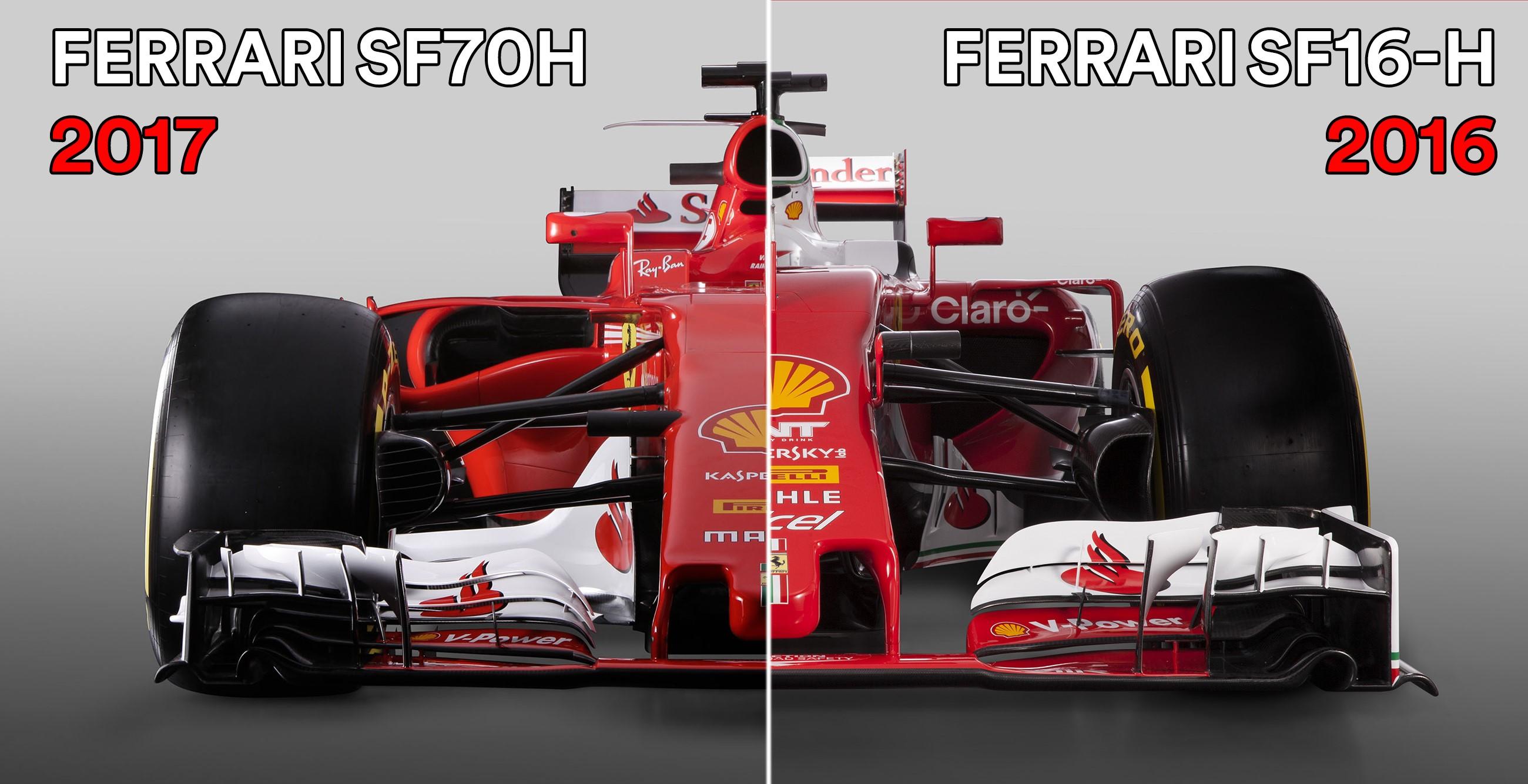 Il confronto tra la Ferrari SF16-H (2016) e la Ferrari SF70H (2017)