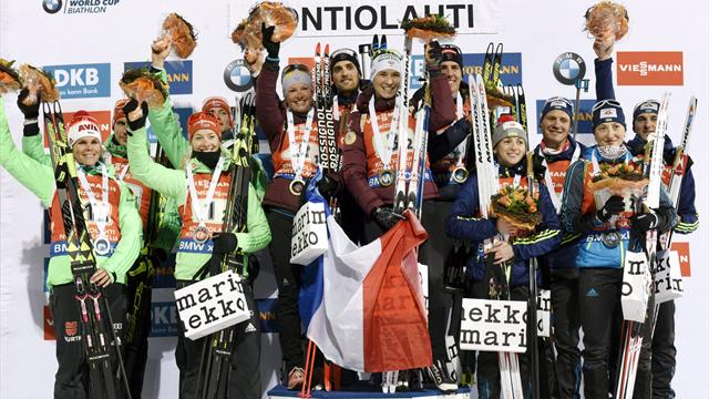 France take mixed relay glory at biathlon World Cup