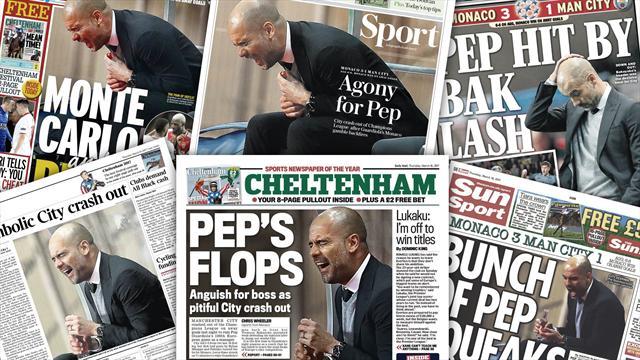 """La presse anglaise reproche à Guardiola son """"pari tactique"""" face à Monaco"""