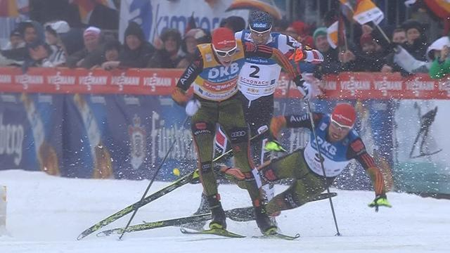 Drama as Germans collide metres from finish line