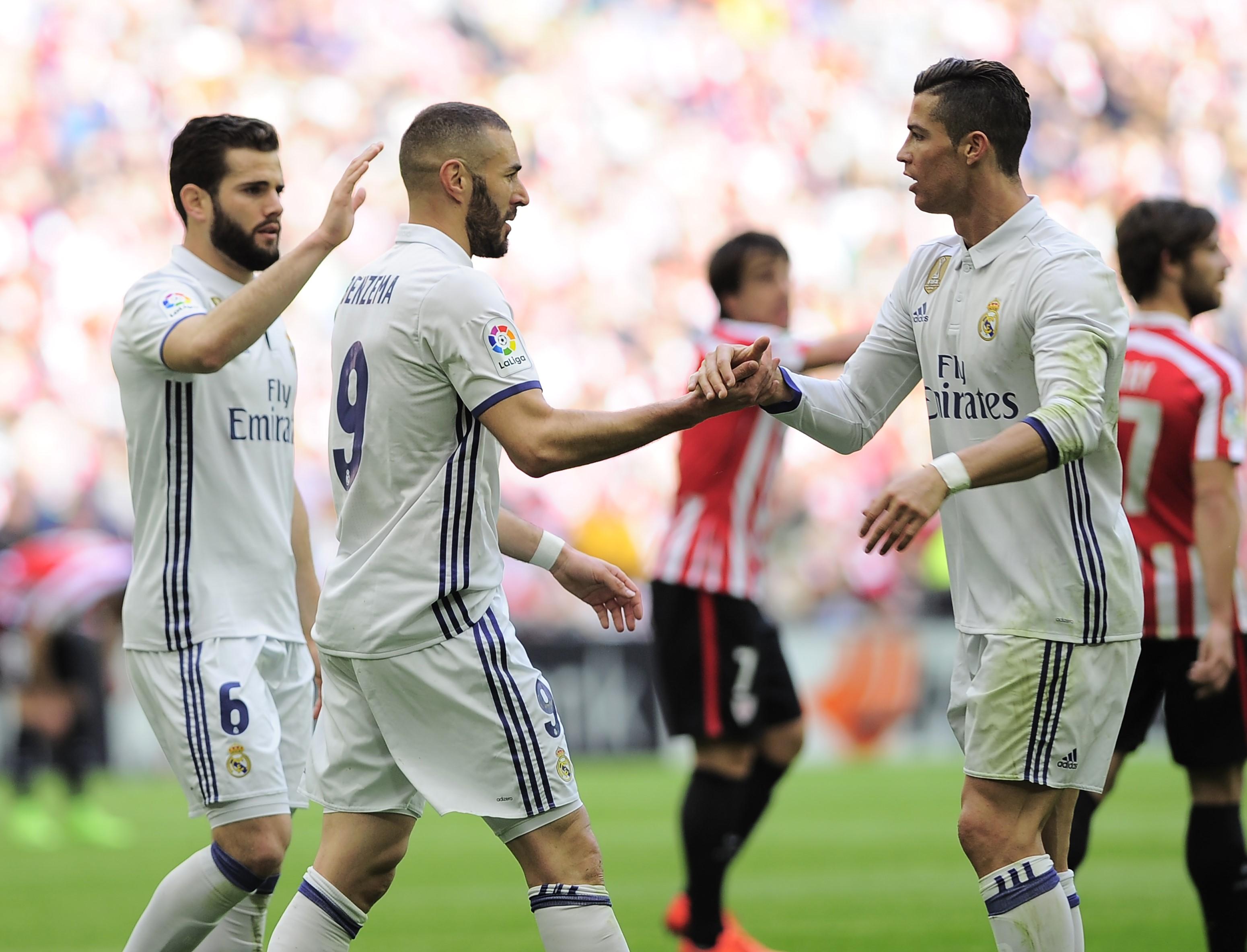Nacho, Karim Benzema et Cristiano Ronaldo (Real Madrid) face à Bilbao