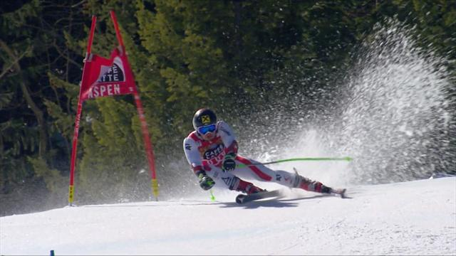 Aspen giant slalom: Hirscher's winning run makes it a hat-trick