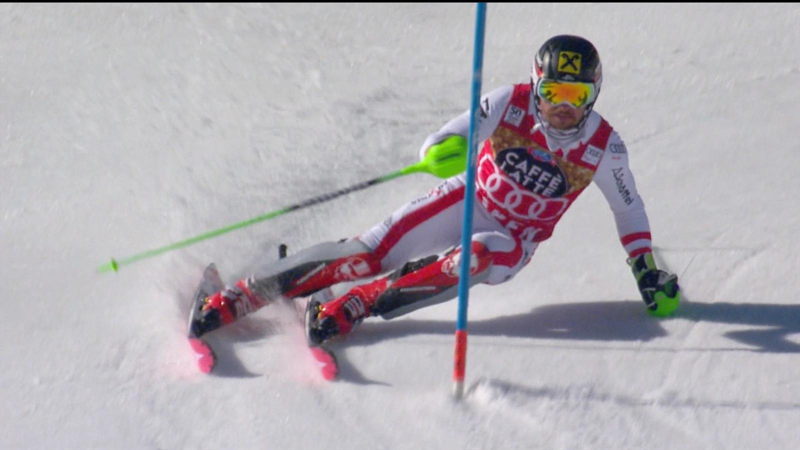 VIDEO - Ski Alpin - Slalom in Aspen: Marcel Hirscher fährt zur Bestzeit im ersten Durchgang ...
