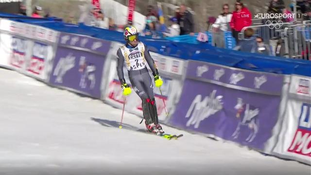 Stefano Gross ci prova in slalom: è 3° dopo la prima manche