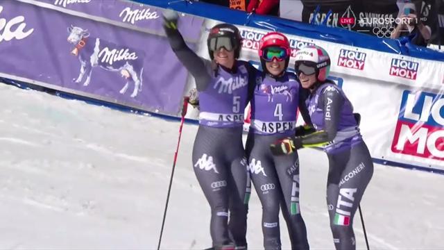 Brignone-Goggia-Bassino: l'abbraccio azzurro del trionfo di Aspen