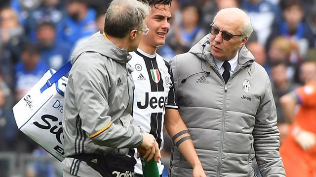 El argentino Dybala se retiró por un problema muscular ante el Sampdoria
