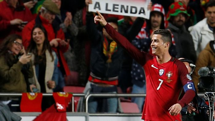 Portugal's Cristiano Ronaldo celebrates scoring against Hungary