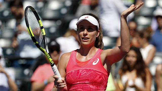 Konta beats Halep to become first British woman to reach Miami semis