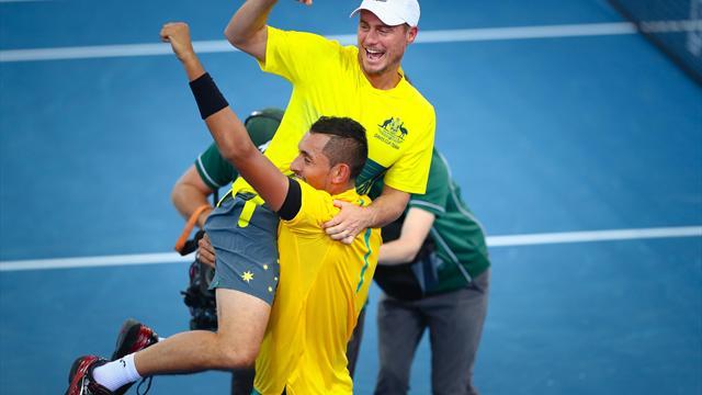 Kyrgios sends Australia into Davis Cup semis